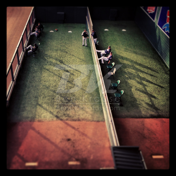 An Instagram of the bullpen at Target Field in Minneapolis, Minnesota.