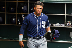 SAN FRANCISCO, CA - MAY 25: Yangervis Solarte #26 of the San Diego Padres stands in the dugout before the game against the San Francisco Giants at AT&T Park on May 25, 2016 in San Francisco, California. The San Francisco Giants defeated the San Diego Padres 4-3 in 10 innings. (Photo by Jason O. Watson/Getty Images) *** Local Caption *** Yangervis Solarte