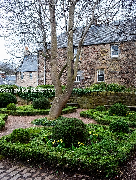 View of Dunbars Garden off Dunbars Close on Royal Mile ( High Street) in Old Town Edinburgh, Scotland, United Kingdom
