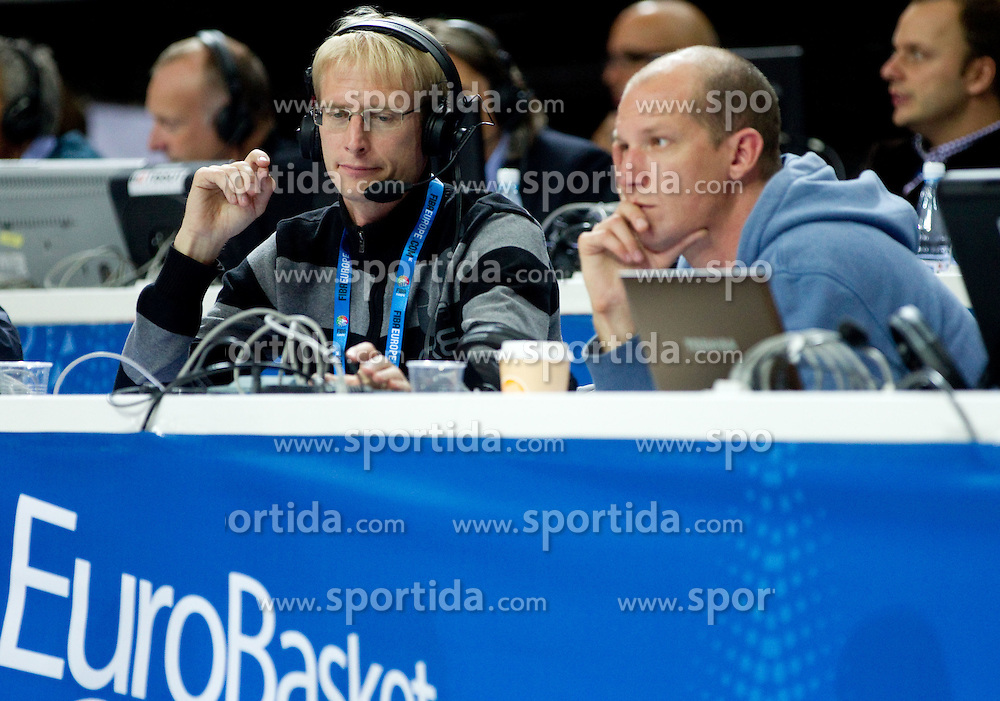 Franci Pavser and Uros Volk of Radio Slovenija during basketball game between National basketball teams of France and Russia in 2nd Semifinal of FIBA Europe Eurobasket Lithuania 2011, on September 16, 2011, in Arena Zalgirio, Kaunas, Lithuania.  (Photo by Vid Ponikvar / Sportida)