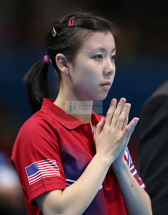 Ariel Hsing of the USA is introduced before her match against Lain Ni Xia of Luxembourg during a table tennis match at the Olympic Games in London, England, United Kingdom, on 29 Jul 2012..(Jed Jacobsohn/for The New York Times)....