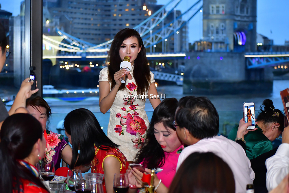 """Chinese Soprano 朱珍,Jane Maria sings 我和我的祖国,Me and my country to celebration of the 70th China National Day 2019 and a Chinese """"Qipao"""" flash mob, London, 28 September 2019, UK."""