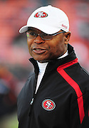 November 12, 2009; San Francisco, CA, USA; San Francisco 49ers head coach Mike Singletary watches warm ups before the game against the Chicago Bears at Candlestick Park. The 49ers defeated the Bears 10-6. Mandatory Credit: Kyle Terada-Terada Photo