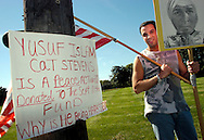 Jim Kashishian of King of Prussia, Pennsylvania posted this sign in support of musician Cat Stevens outside the Valley Forge Convention Center September 22, 2004 in King of Prussia, Pennsylvania. President George W. Bush was making remarks at the Convention Center. (Photo by William Thomas Cain/photodx.com)