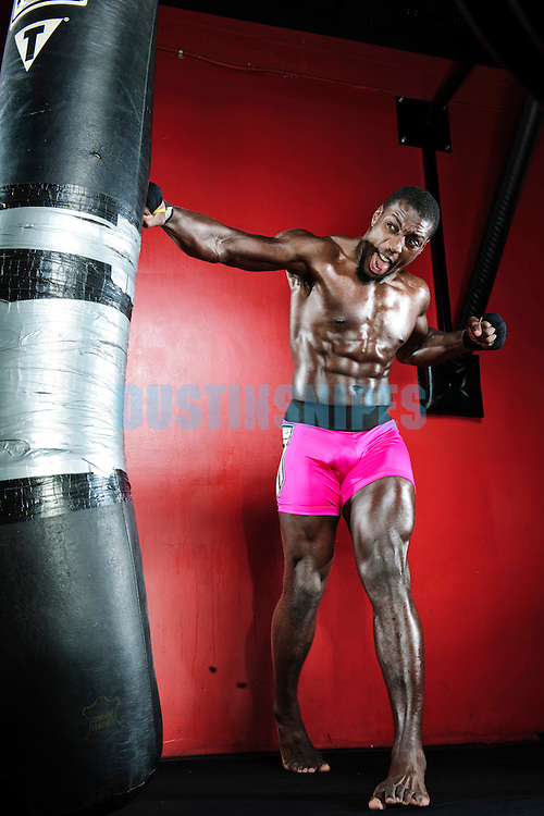 """MMA fighter Phil """"Mr. Wonderful"""" Davis poses for action portrait photo shoot in San Diego, CA in December 2012"""