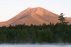 Early morning on Katahdin Lake in Maine's Northern Forest.  Mount Katahdin. Near Baxter State Park.