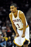 Feb. 9, 2011; Cleveland, OH, USA; Cleveland Cavaliers point guard Ramon Sessions (3) catches his breath during a free throw against the Detroit Pistons at Quicken Loans Arena. The Pistons beat the Cavaliers 103-94 for Cleveland's 26th loss in a row. Mandatory Credit: Jason Miller-US PRESSWIRE