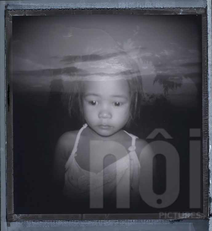 Double exposure portrait of a little Filipina girl, Palawan Island, Philippines, Southeast Asia
