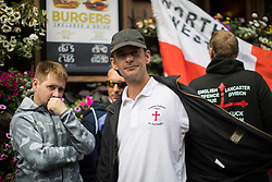 "© Licensed to London News Pictures . 24/06/2017. London, UK. EDL leader IAN CROSSLAND on Whitehall . The English Defence League ( EDL ) hold a March on Parliament , from Charing Cross to Victoria Embankment , opposed by  a counter demonstration by Unite Against Fascism . Scotland Yard said it was using public order laws to restrict the marches ""due to concerns of serious public disorder, and disruption to the community"" following terrorist attacks in Manchester , Westminster and Finsbury Park and the Grenfell Tower fire  . Photo credit: Joel Goodman/LNP"
