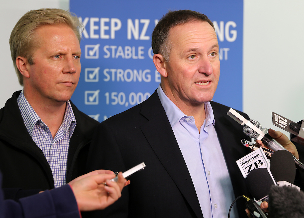 Prime Minister John Key, accompanied by Rotorua MP Todd McClay, at a stand up media conference at the Skyline, Rotorua, New Zealand, Saturday, September 13, 2014. Credit: SNPA / Peter Graney
