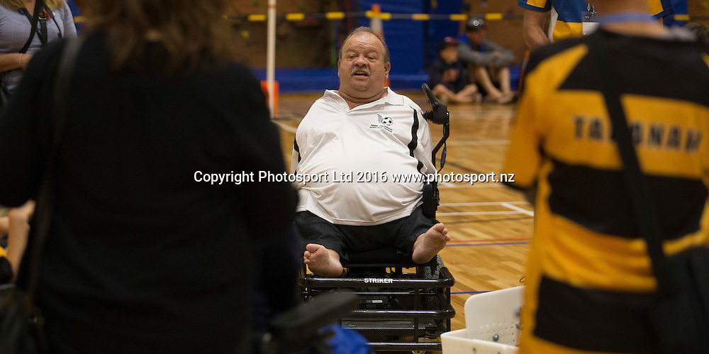 Power chair football, Day 1, Halberg Junior Disability Games, St Peter's School, Cambridge, New Zealand. Friday, 22 April, 2016. Copyright photo: John Cowpland / www.photosport.nz