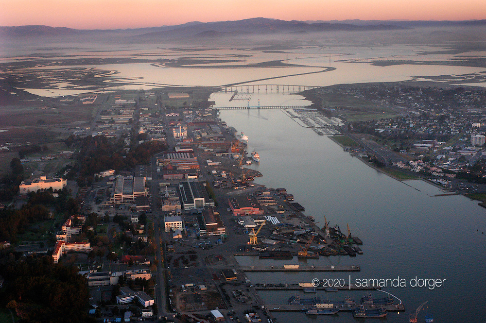 Mare Island, seen looking north. The Napa River becomes Mare Island Strait as it flows past the former naval shipyard.