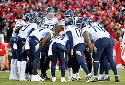 Jan 19, 2020; Kansas City, Missouri, USA;  Tennessee Titans quarterback Ryan Tannehill (17) talks to players in the huddle during the AFC Championship Game against the Kansas City Chiefs at Arrowhead Stadium. Mandatory Credit: Denny Medley-USA TODAY Sports