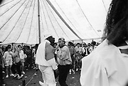 Hip Hop battle in music tent at the Moss Side Carnival, Alexandra Park, Manchester 1989