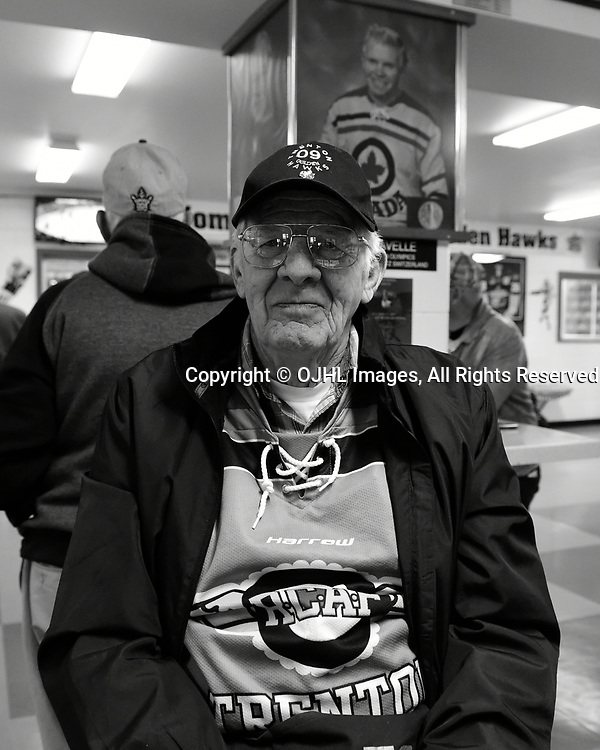 TRENTON, ON - APR 15,  2017: Ontario Junior Hockey League, Championship Series. Georgetown Raiders vs the Trenton Golden Hawks in Game 2 of the Buckland Cup Final. A Trenton Golden Hawks volunteer before the game. <br /> (Photo by Andy Corneau / OJHL Images)