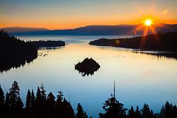 """Emerald Bay Sunrise 16"" - Photograph of a sunburst and Lake Tahoe's Emerald Bay shot at sunrise."