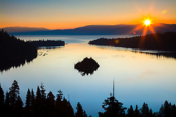 """Emerald Bay Sunrise 16"" - Photograph of a sunburst and Lake Tahoe's Emerald Bay shot at sunrise."
