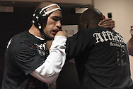 MANCHESTER, ENGLAND, NOVEMBER 11, 2009: Brandon Vera (left) works grappling drills with Lloyd Irwin Jr at the open work-outs for UFC 105 at the Crowne Plaza Hotel in Manchester, England on November 11, 2009.