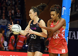 New Zealand's Bailey Mes, left, plays infront of England's Geva Mentor in the Taini Jamison Trophy netball series match at Te Rauparaha Arena, Porirua, New Zealand, Thursday, September 07, 2017. Credit:SNPA / Ross Setford  **NO ARCHIVING**