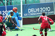 Lesle Ann George gets close to goal for RSA during the women's hockey match of the The Commonwealth Games between South Africa and Trinidad and Tobago held at the Stadium in New Delhi, India on the  October 2010..Photo by:  Ron Gaunt/SPORTZPICS/PHOTOSPORT