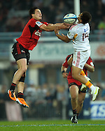 Zac Guildford and Tim Nanai-Williams compete for the ball. Super 15 rugby union match - Crusaders v Chiefs at McLean Park, Napier, New Zealand on Saturday, 21 May 2011. Photo: Dave Lintott / photosport.co.nz
