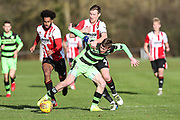 Forest Green Rovers Rovers Luke James(33) attempts to control the ball during the The Central League match between Cheltenham Town Reserves and Forest Green Rovers Reserves at The Energy Check Training Ground, Cheltenham, United Kingdom on 28 November 2017. Photo by Shane Healey.