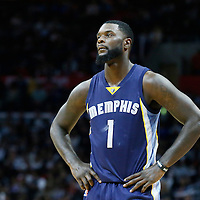 12 April 2016: Memphis Grizzlies forward Lance Stephenson (1) rests during the Los Angeles Clippers 110-84 victory over the Memphis Grizzlies, at the Staples Center, Los Angeles, California, USA.