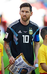 MOSCOW, RUSSIA - Saturday, June 16, 2018: Argentina's Lionel Messi before the FIFA World Cup Russia 2018 Group D match between Argentina and Iceland at the Spartak Stadium. (Pic by David Rawcliffe/Propaganda)
