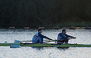 Caversham, Reading, Great Britain,   left Matt TARRANT and Nathanial REILLY O'DONNELL,  GBRowing Training Session, at the National Training Base, Berkshire, England.<br />