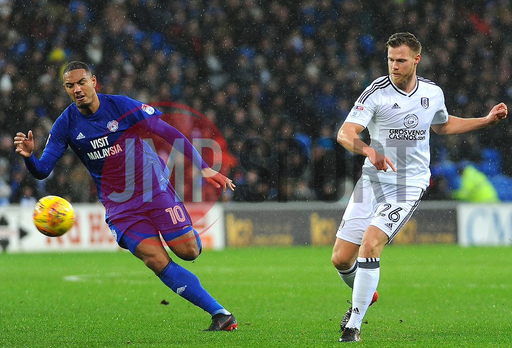 Kenneth Zohore of Cardiff City chases down Tomas Kalas of Fulham- Mandatory by-line: Nizaam Jones/JMP- 26/12/2017 -  FOOTBALL - Cardiff City Stadium - Cardiff, Wales -  Cardiff City v Fulham - Sky Bet Championship