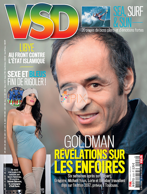 French model and tv personality Sidonie Biemont features on the cover of VSD magazine in France. As the girlfriend of Adil Rami, defender for the French national football team, she and other WAGs are in the spotlight during the Euro 2016 competition.  <br />