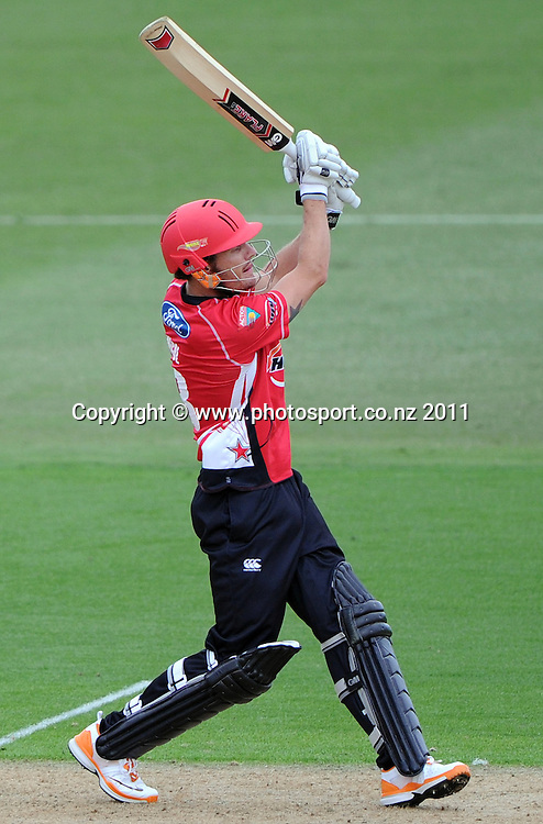 Rob Nicol batting during his century innings for Canterbury at the HRV Twenty20 Cricket match between the Auckland Aces and Canterbury Wizards at Colin Maiden Oval in Auckland, New Zealand on Tuesday 17 January 2012. Photo: Andrew Cornaga/Photosport.co.nz