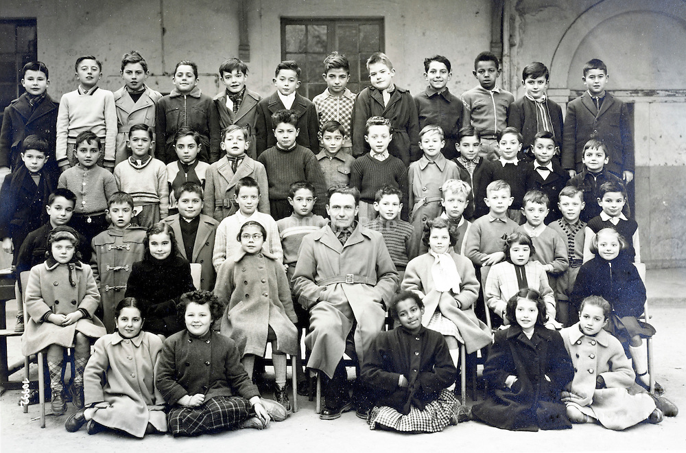 multi cultural elementary school group France year 1954 1955