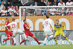 16.04.2016, WWK Arena, Augsburg, GER, 1. FBL, FC Augsburg vs VfB Stuttgart, 30. Runde, im Bild Georg Niedermeier (VfB Stuttgart) Alfred Finnbogason (FC Augsburg) Emiliano Insua (VfB Stuttgart) Ja-Cheol Koo (FC Augsburg) Przemyslaw Tyton (VfB Stuttgart) // during the German Bundesliga 30th round match between FC Augsburg and VfB Stuttgart at the WWK Arena in Augsburg, Germany on 2016/04/16. EXPA Pictures © 2016, PhotoCredit: EXPA/ Eibner-Pressefoto/ Langer<br /> <br /> *****ATTENTION - OUT of GER*****