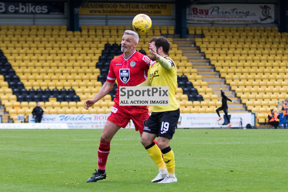 St. Mirren's Jim Goodwin and Livingston's Liam Buchanan go for the same ball in the Livingston vs St. Mirren Scottish Championship 17th October 2015......(c) MARK INGRAM | SportPix.org.uk