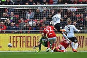 Goal - Tom Lawrence (10) of Derby County scores a goal to give a 0-1 lead to the away team  during the EFL Sky Bet Championship match between Bristol City and Derby County at Ashton Gate, Bristol, England on 27 April 2019.