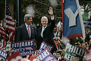 Philadelphia,PA,USA,20041025; Presidential hopeful Senator John Kerry gets some help from former President Bill Clinton during a rally in Love Park in Philadelphia.