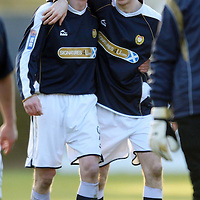 Dundee v St Johnstone....01.03.08 <br /> Colin McMenamin celebrates at full time with Eddie Malone<br /> Picture by Graeme Hart.<br /> Copyright Perthshire Picture Agency<br /> Tel: 01738 623350  Mobile: 07990 594431
