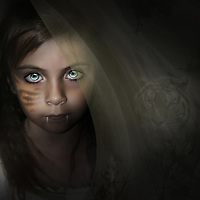 Fantasy image with young child with fangs and a tiger in the background behind her.