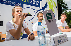 Alja Krajnc, Aljaz Kos and Gregor Krusic at Press conference 2 weeks before ATP Challenger Zavarovalnica Sava Slovenia Open 2017, on July 16, 2017 in TC Breskvar, Ljubljana, Slovenia. Photo by Vid Ponikvar / Sportida
