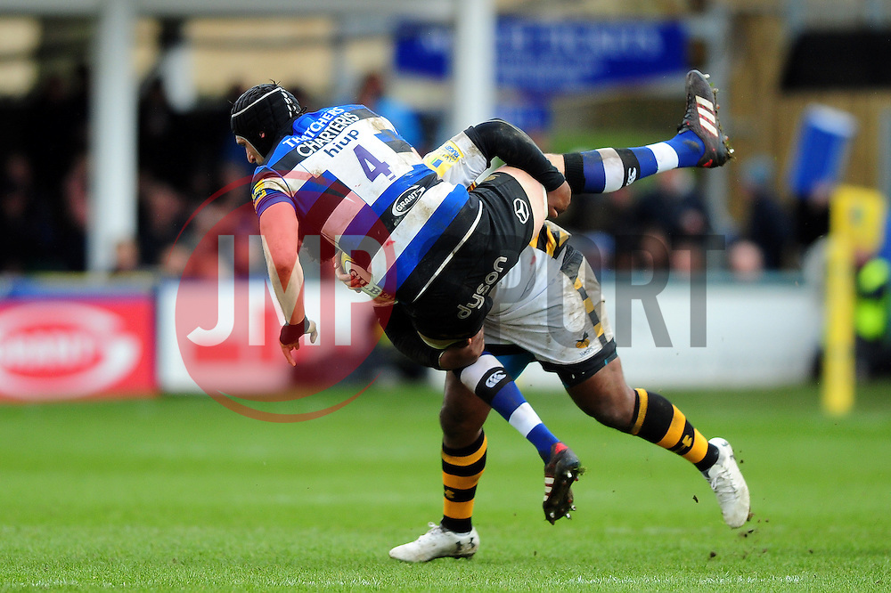 Luke Charteris of Bath Rugby is tackled by Ashley Johnson of Wasps - Mandatory byline: Patrick Khachfe/JMP - 07966 386802 - 04/03/2017 - RUGBY UNION - The Recreation Ground - Bath, England - Bath Rugby v Wasps - Aviva Premiership.