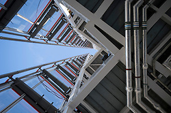 **PICTURES STRICTLY EMBARGOED INTIL 00:01 HOURS FRIDAY 11 JANUARY 2013** © London News Pictures. London, UK.  A detail of the architecture looking up from the viewing platform during a media preview of the viewing level of The Shard building in London ahead of the public opening of 'A View From The Shard' on February 1, 2013. The public can view a 360 degree view of the capital from the 72nd floor of Western Europe's tallest building which stands at 800ft (244m).  Photo credit : Ben Cawthra/LNP