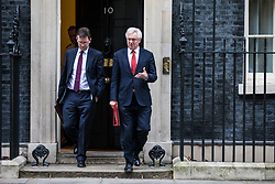 © Licensed to London News Pictures. 09/01/2018. London, UK. Secretary of State for Exiting the European Union David Davis (R) and Attorney General Jeremy Wright (L) leaves 10 Downing Street after the first meeting of the Cabinet after Prime Minister Theresa May's reshuffle. Photo credit: Rob Pinney/LNP