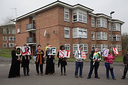 © Licensed to London News Pictures. 03/04/2014. London, UK. Residents of Barnet protest outside the Community Center against the Mayor of london Boris Johnson who is attenting for the inauguration of new council houses. Photo credit : Andrea Baldo/LNP