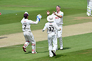 Wicket - Rikki Clarke of Surrey celebrates taking the wicket of Gareth Berg of Hampshire during the Specsavers County Champ Div 1 match between Hampshire County Cricket Club and Surrey County Cricket Club at the Ageas Bowl, Southampton, United Kingdom on 11 June 2018. Picture by Graham Hunt.