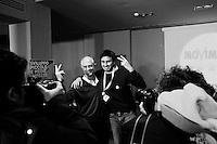 """ROME, ITALY - 25 FEBRUARY 2013: (L-R) Alessandro Di Battista, a 34 years old journalist, and Domenico Falconieri, candidates respectively in the Chamber of Deputies and in the Senate for the Five Stars Movement, pose for a press photo at the Five Stars Movement press room in Rome, on February 25, 2013.<br /> <br /> A general election to determine the 630 members of the Chamber of Deputies and the 315 elective members of the Senate, the two houses of the Italian parliament, will take place on 24–25 February 2013. The main candidates running for Prime Minister are Pierluigi Bersani (leader of the centre-left coalition """"Italy. Common Good""""), former PM Mario Monti (leader of the centrist coalition """"With Monti for Italy"""") and former PM Silvio Berlusconi (leader of the centre-right coalition).<br /> <br /> ###<br /> <br /> ROMA, ITALIA - 25 FEBBRAIO 2013: (L-R) Alessandro Di Battista, un giornalista di 34 anni, e Domenico Falconieri, candidati rispettivamente alla Camera dei Deputati e al Senato con il Movimento Cinque Stelle, posano per una foto per la stampa nella sala stampa del Movimento 5 Stelle a Roma, il 25 febbraio 2013.<br /> <br /> Le elezioni politiche italiane del 2013 per il rinnovo dei due rami del Parlamento italiano – la Camera dei deputati e il Senato della Repubblica – si terranno domenica 24 e lunedì 25 febbraio 2013 a seguito dello scioglimento anticipato delle Camere avvenuto il 22 dicembre 2012, quattro mesi prima della conclusione naturale della XVI Legislatura. I principali candidate per la Presidenza del Consiglio sono Pierluigi Bersani (leader della coalizione di centro-sinistra """"Italia. Bene Comune""""), il premier uscente Mario Monti (leader della coalizione di centro """"Con Monti per l'Italia"""") e l'ex-premier Silvio Berlusconi (leader della coalizione di centro-destra)."""