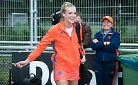 SCHIEDAM -Sanne Koolen (Ned)  na haar eerste interland , met bondscoach Alyson Annan (Ned)    na de oefenwedstrijd tussen  de dames van Nederland en Belgie , in aanloop naar het  EK Hockey, eind augustus in Amstelveen. COPYRIGHT KOEN SUYK