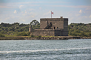 Historic Fort Matanzas National Monument on the Matanzas River in St Augustine, Florida. The stone coastal fort was built in 1742 by the Spanish to guard the Matanzas Inlet.