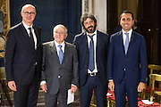 Rome dec 21th 2015, traditional Christmas greetings at Presidential Palace. In the picture Federico D'inca', Franco Modugno, Roberto Fico, Luigi Di Maio