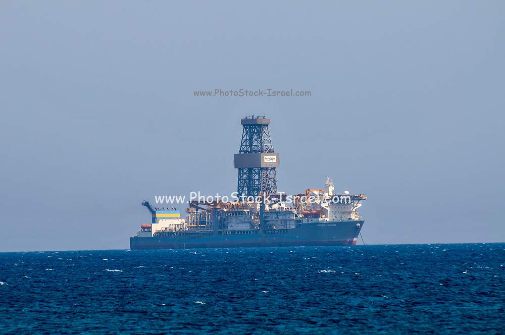 Deep sea Drilling rig of the coast of Limassol Cyprus